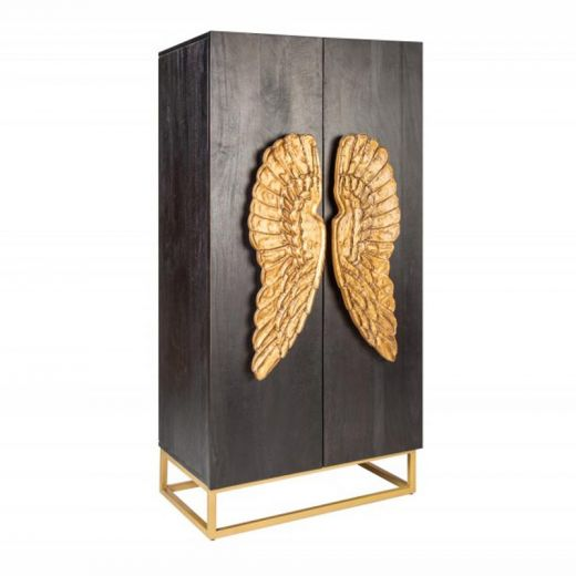 Highboard Cairo Angel-Mango Schwarz-70x140x45 cm (LxHxB)-Massivholz Mango